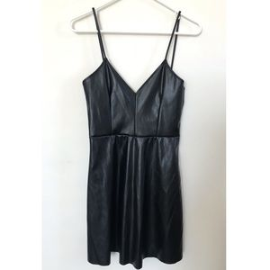 ZARA Faux Leather Strappy Mini Dress
